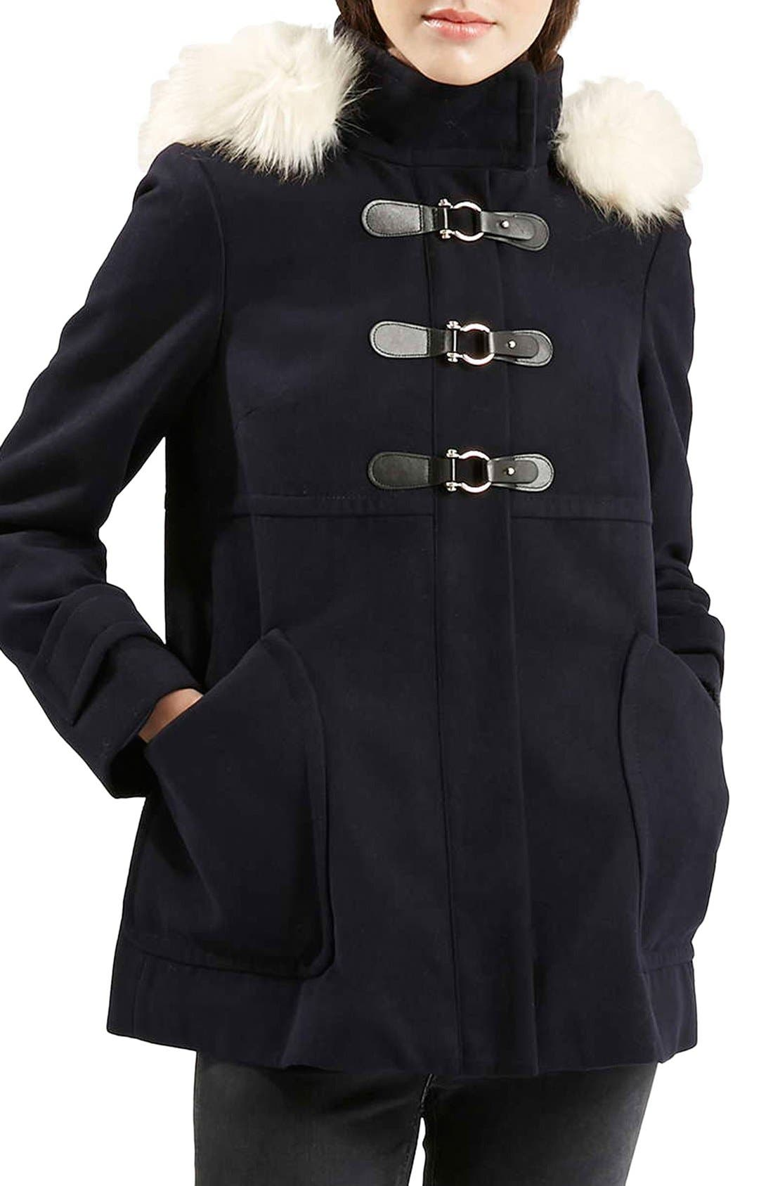 Main Image - Topshop 'Hattie' Faux Fur Trim DuffleCoat