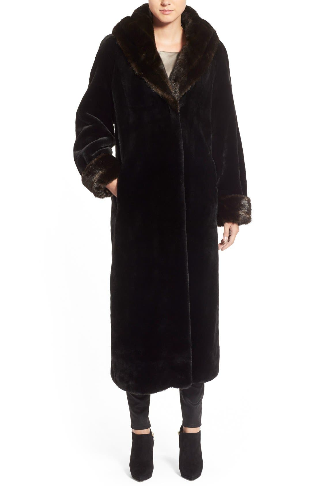 Alternate Image 1 Selected - Gallery Hooded Full-Length Faux Fur Coat