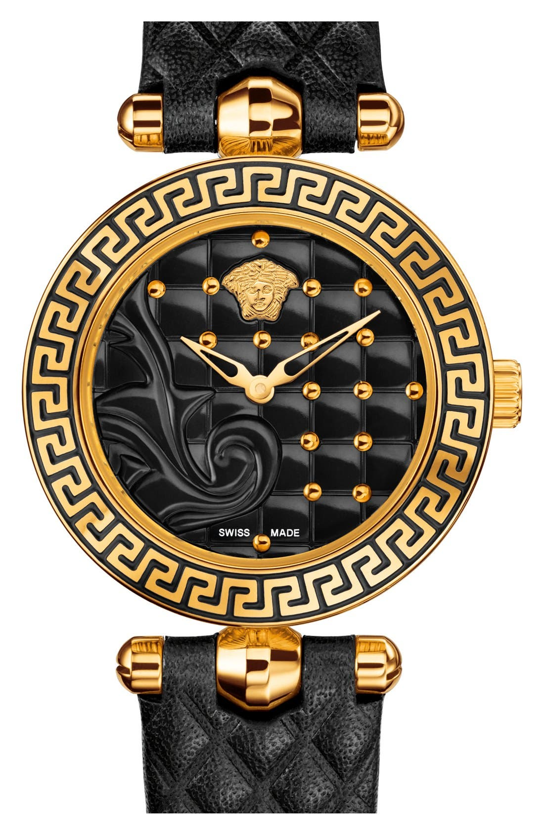 Main Image - Versace 'Vanitas' Quilted Round Leather Strap Watch, 30mm