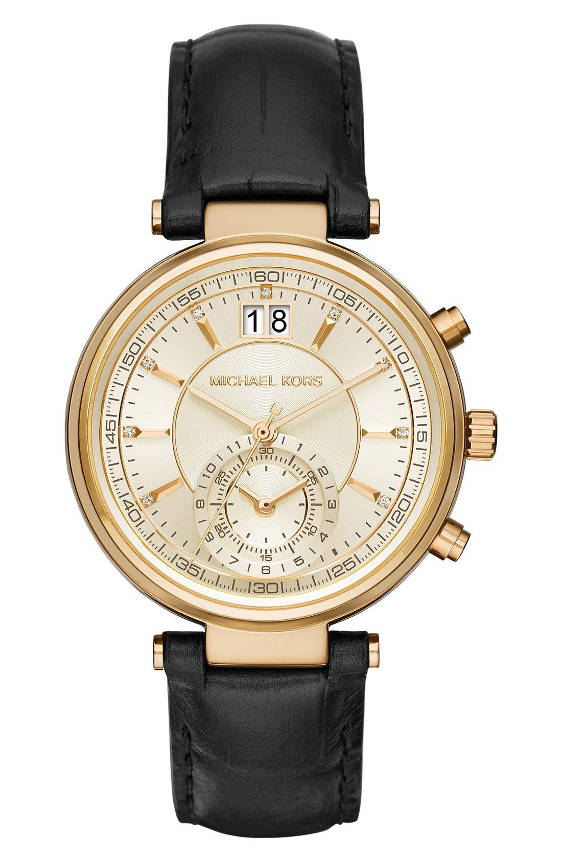 Main Image - MICHAEL Michael Kors 'Sawyer' Leather Strap Watch, 39mm