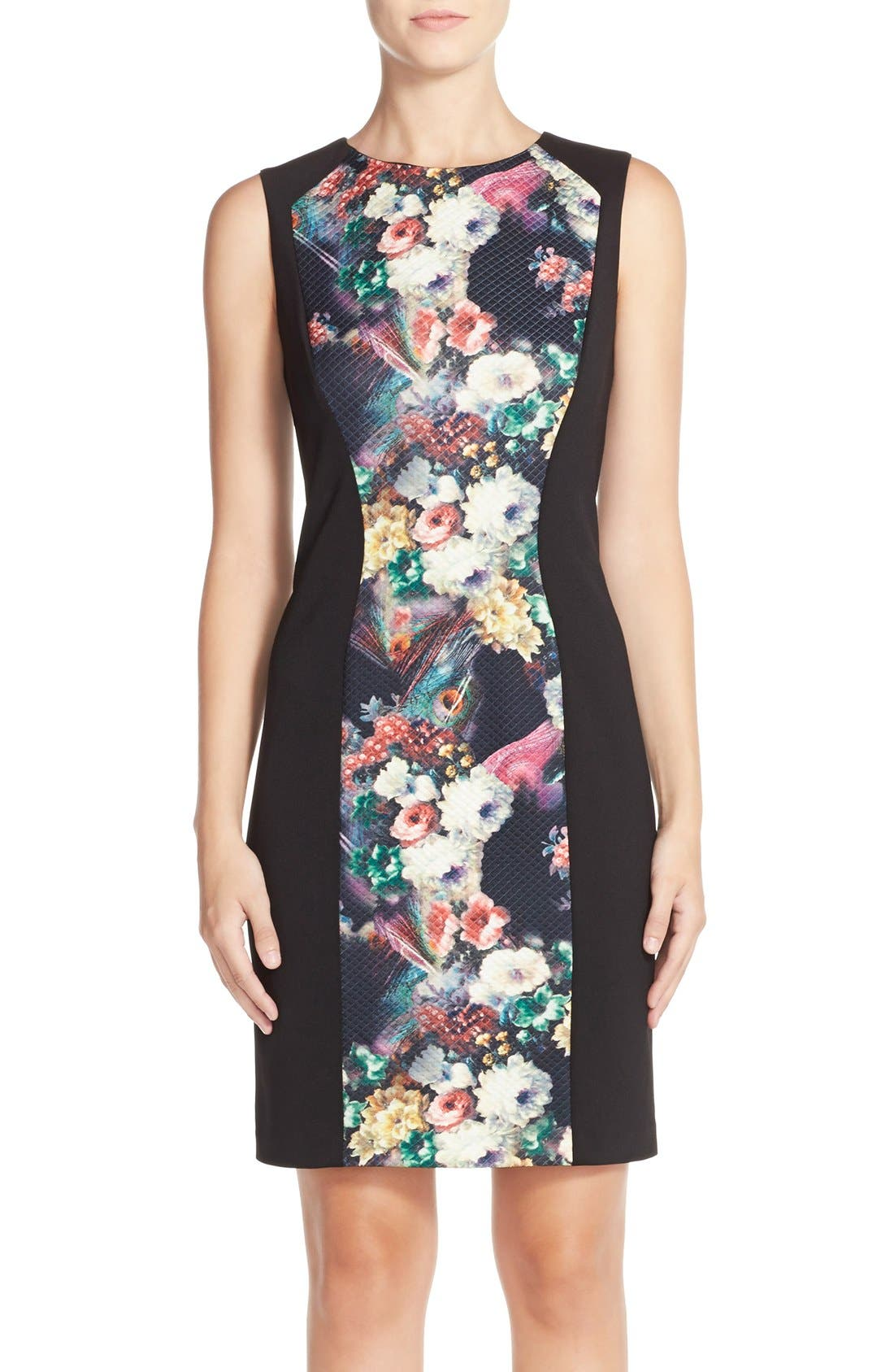 Alternate Image 1 Selected - Betsey Johnson Floral Print Knit Sheath Dress