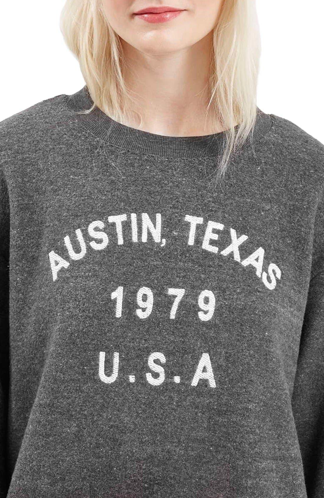 Alternate Image 5  - Topshop 'Austin, Texas' Crewneck Sweatshirt