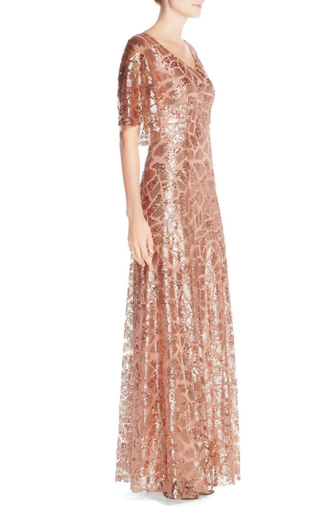 Alternate Image 3  - Donna Morgan 'Camilla' Sequin Flutter Sleeve Gown