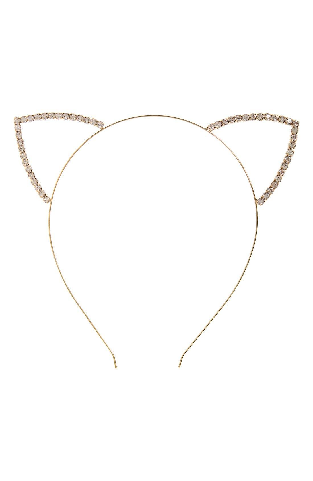 Main Image - Cara 'Meow' Crystal Cat Ear Headband