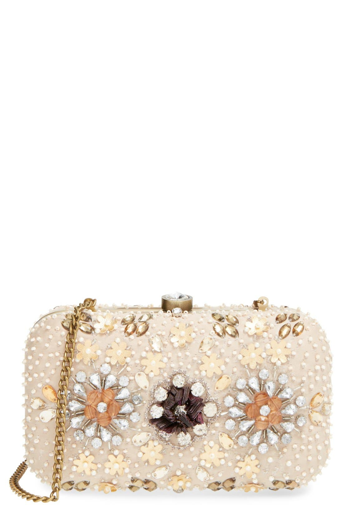 Main Image - Natasha Couture Bead & Crystal Floral Clutch