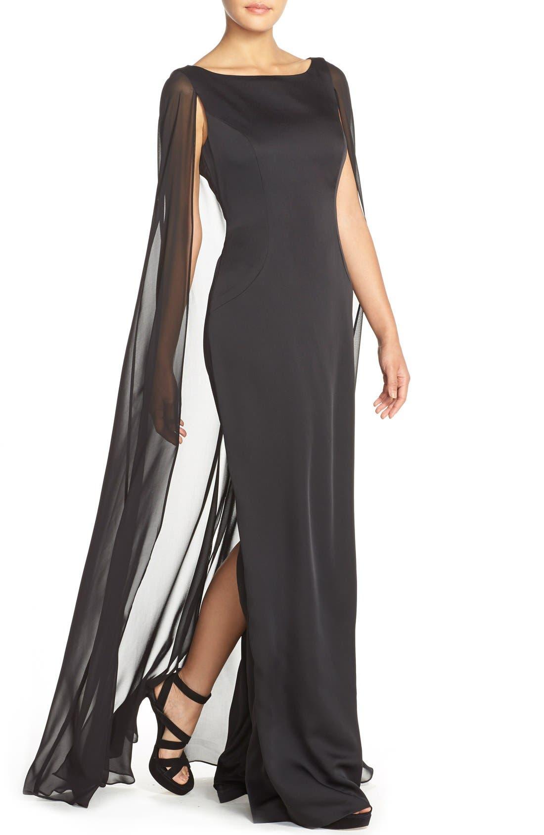 Alternate Image 4  - Adrianna PapellSatin Column Gown withChiffon Cape