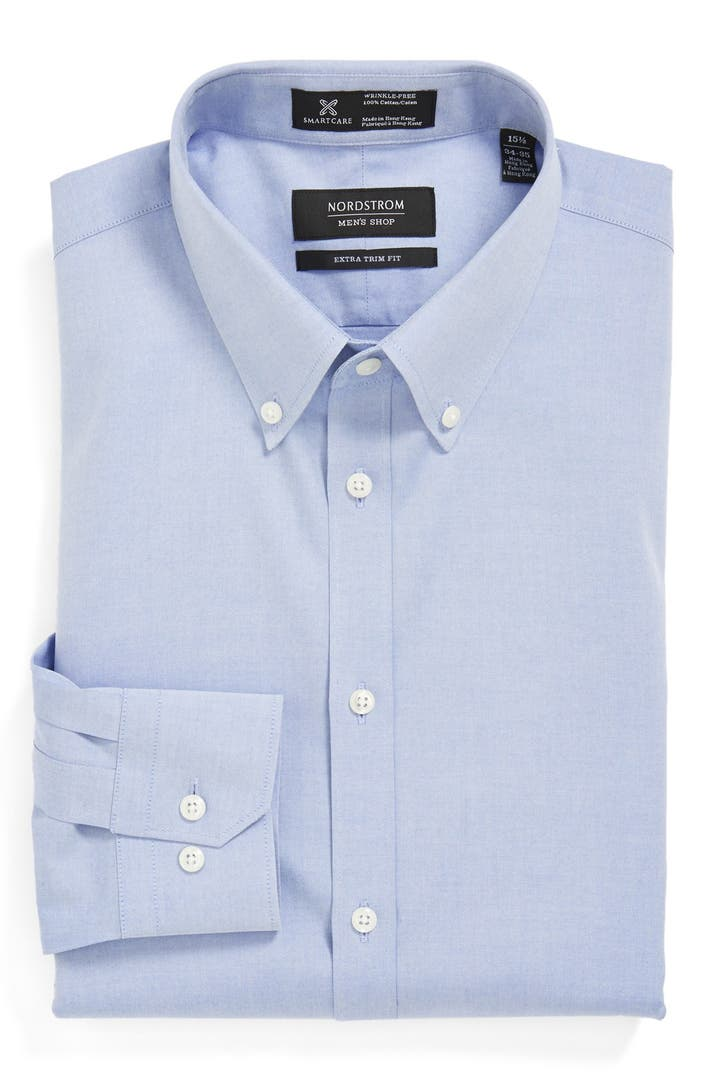 Nordstrom smartcare wrinkle free extra trim fit pinpoint for Extra trim fit dress shirt