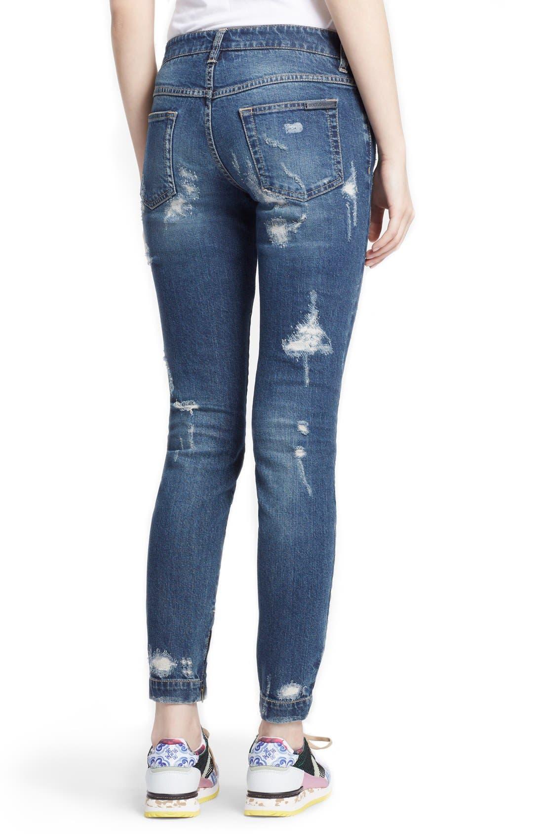 Alternate Image 2  - Dolce&Gabbana Destroyed Skinny Jeans