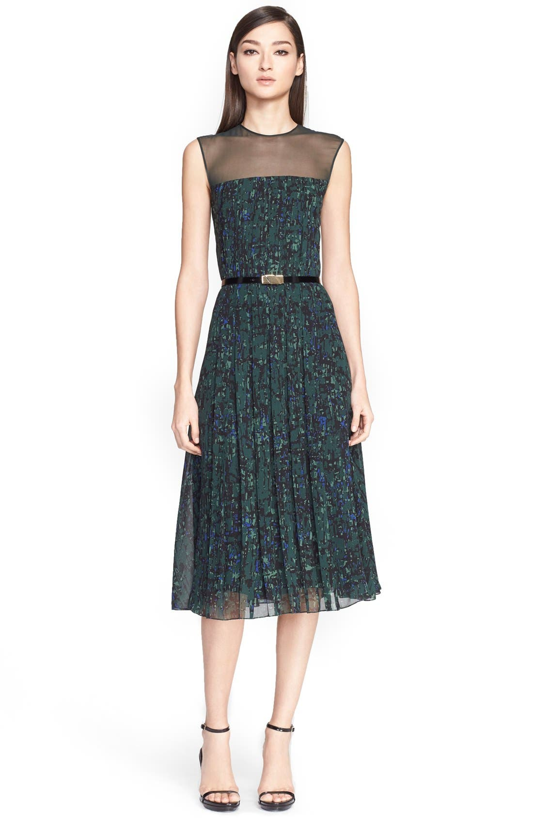 Main Image - Jason Wu Abstract Print Pintuck Pleated Georgette Dress with Belt