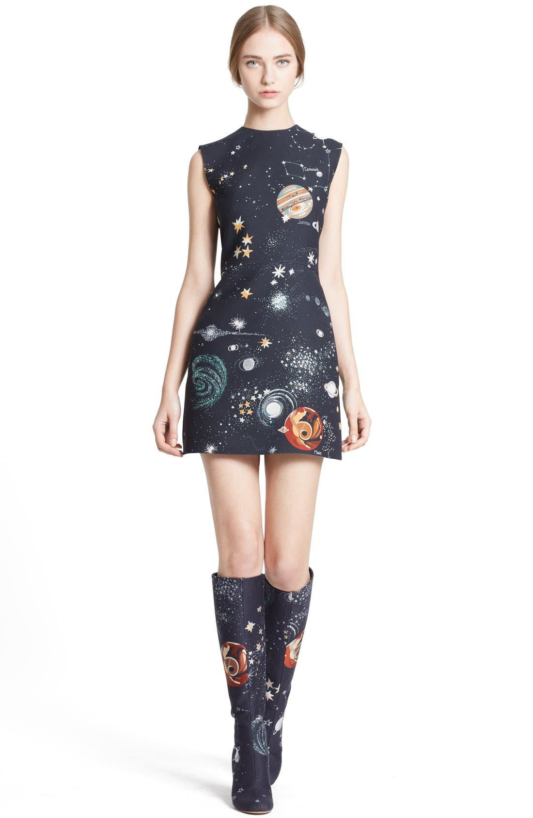 Main Image - Valentino Cosmos Print Wool Blend Crepe Shift Dress