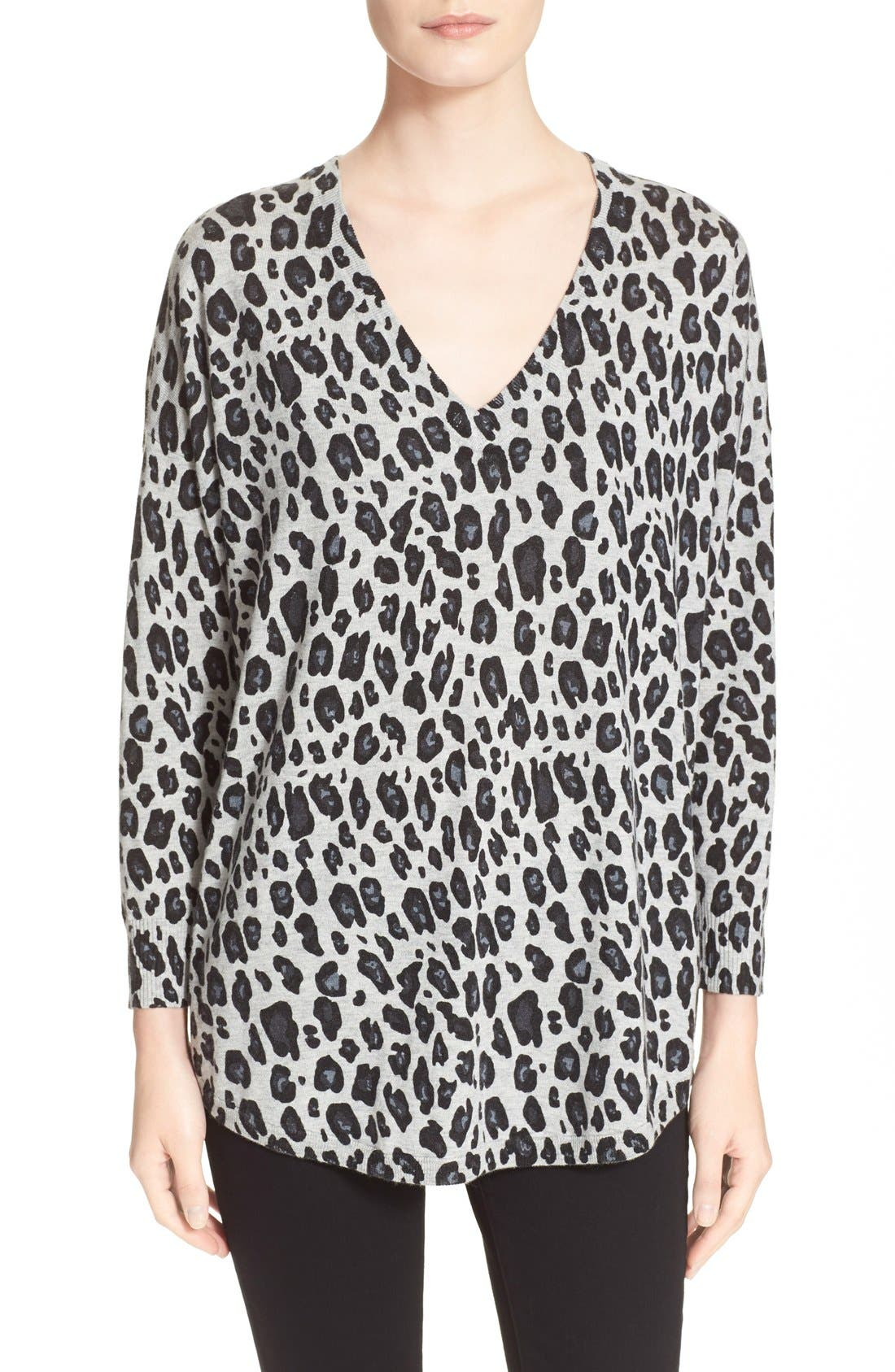 Alternate Image 1 Selected - Joie 'Chyanne' Leopard Print V-Neck Pullover