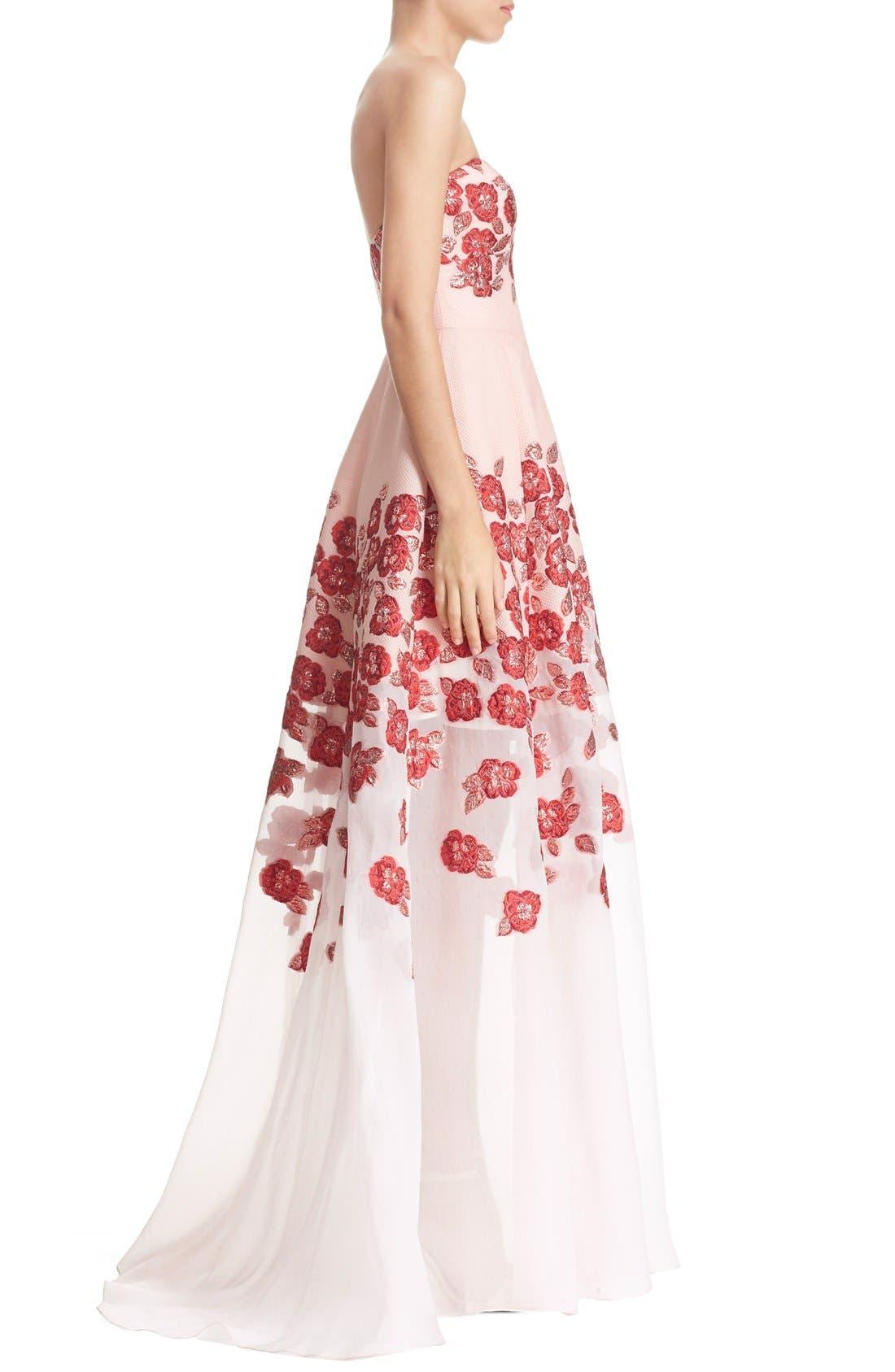 Alternate Image 5  - Lela Rose Strapless Floral FilCoupéGown