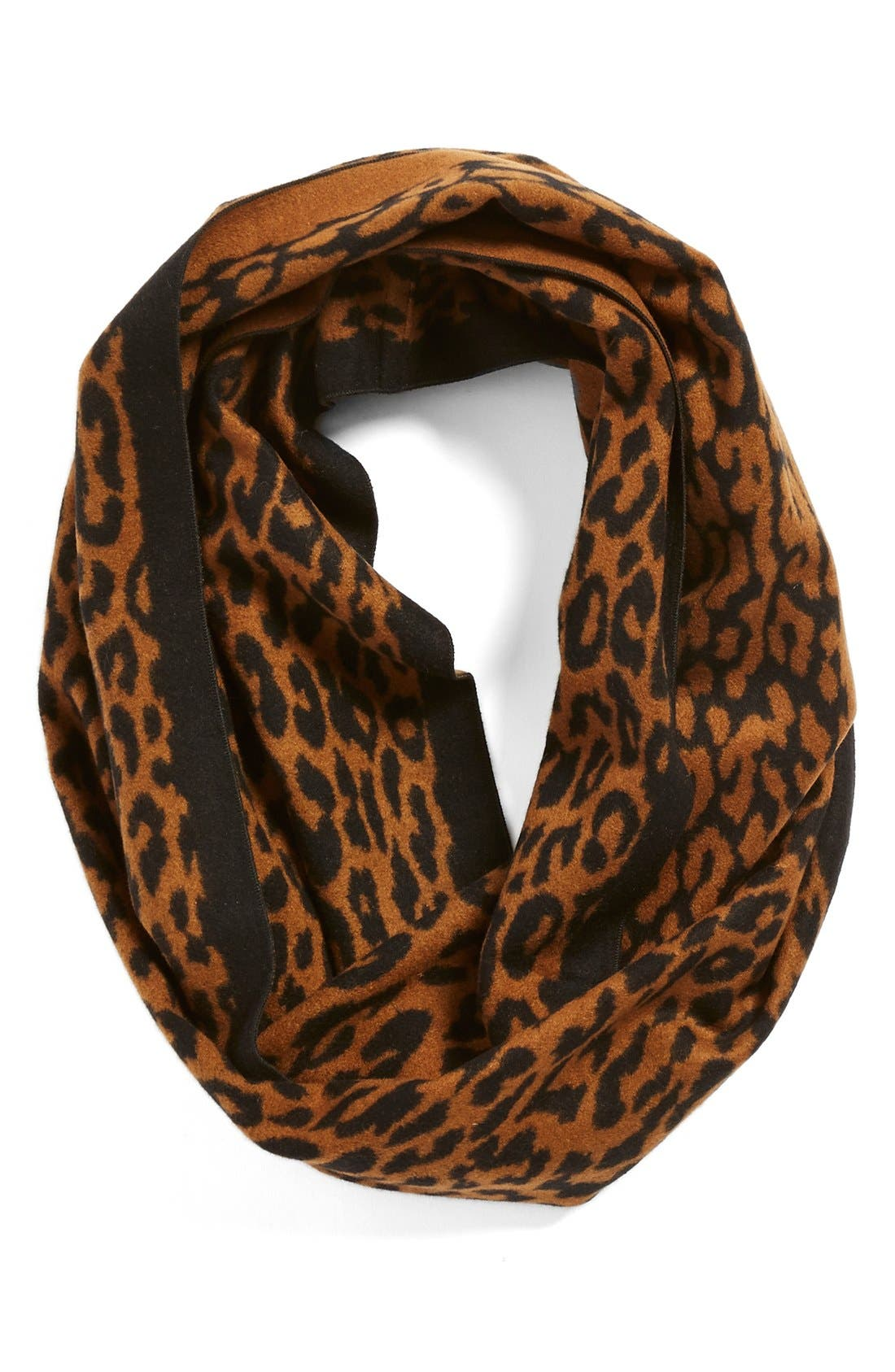 Main Image - Chelsey Leopard Print Silk Infinity Scarf