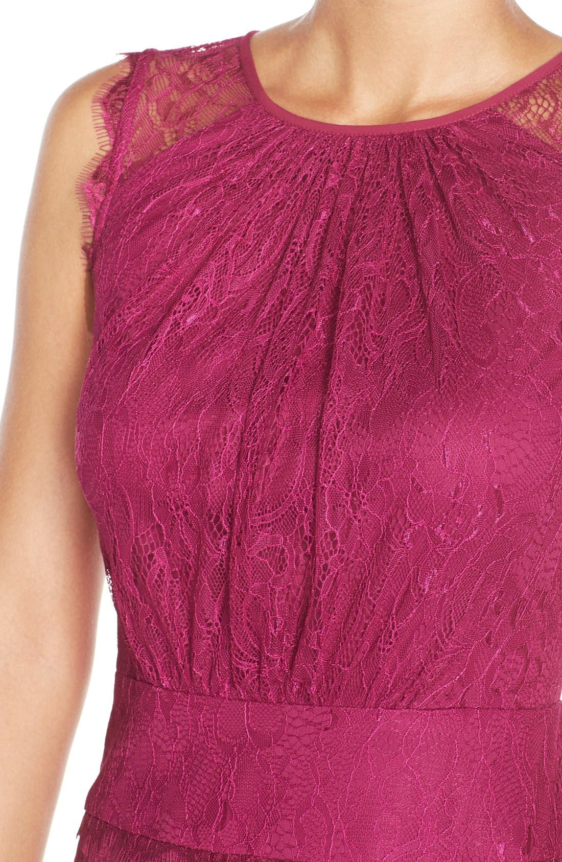Alternate Image 4  - Adrianna Papell Lace & Jacquard Blouson Dress (Regular & Petite)
