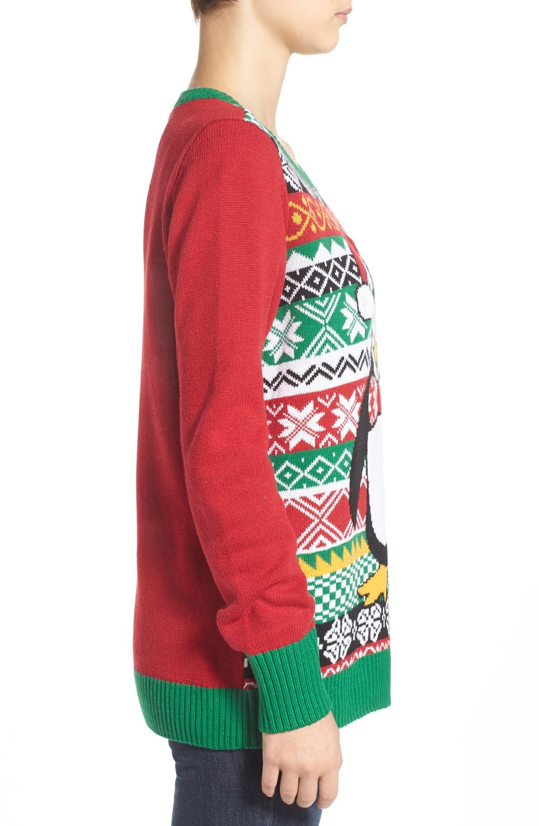 Alternate Image 3  - Ugly Christmas Sweater 'Penguin' Light-Up Fair Isle Knit Sweater