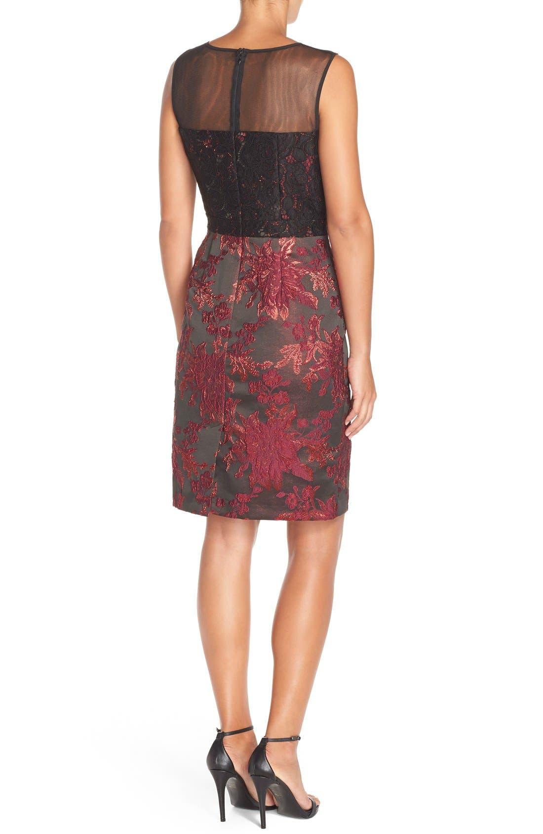 Alternate Image 2  - Adrianna Papell Embellished Lace & Jacquard Sheath Dress