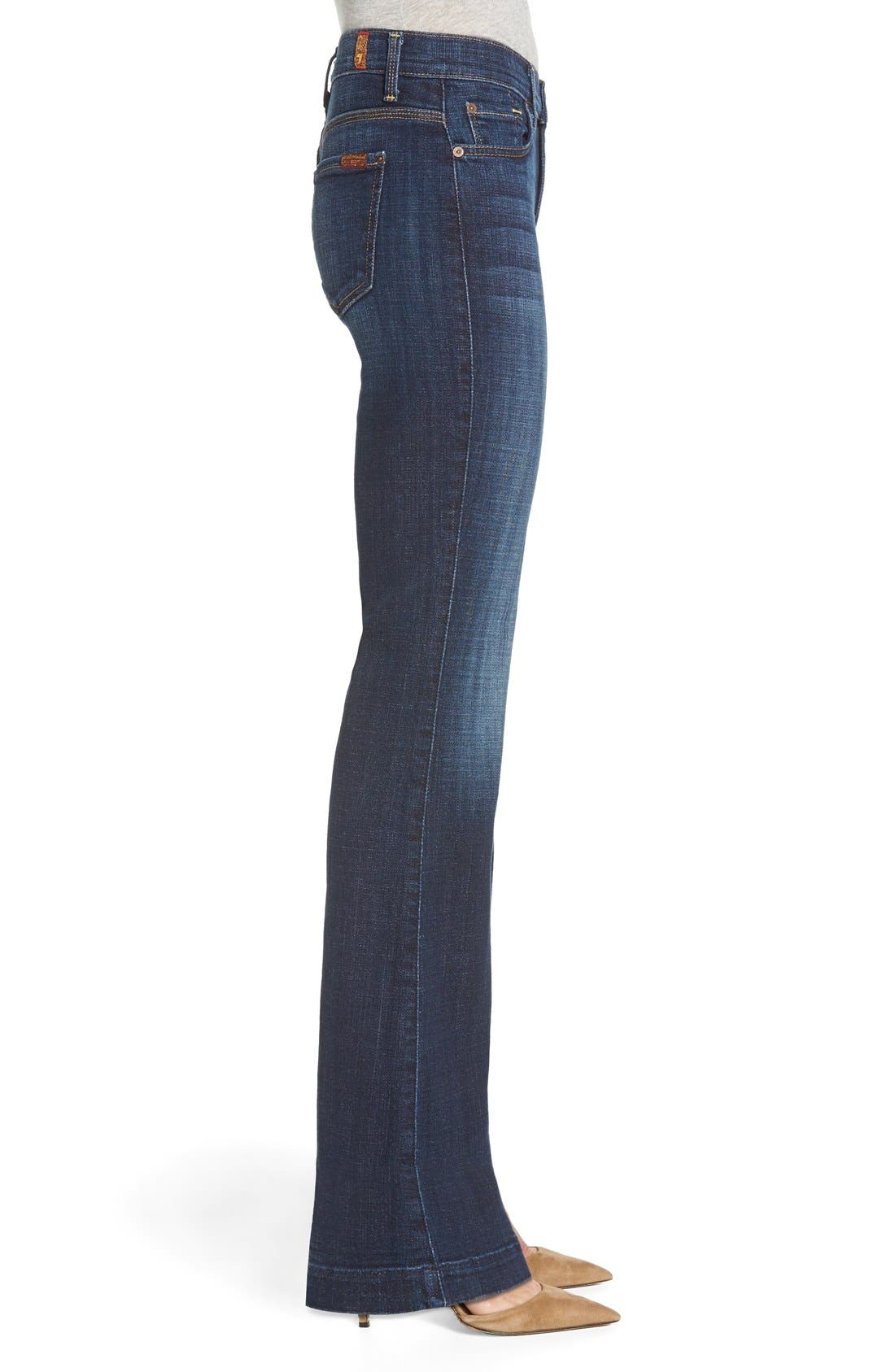 Alternate Image 3  - 7 For All Mankind® 'Tailorless Ginger' High Rise Flare Jeans (Royal Broken Twill) (Short)