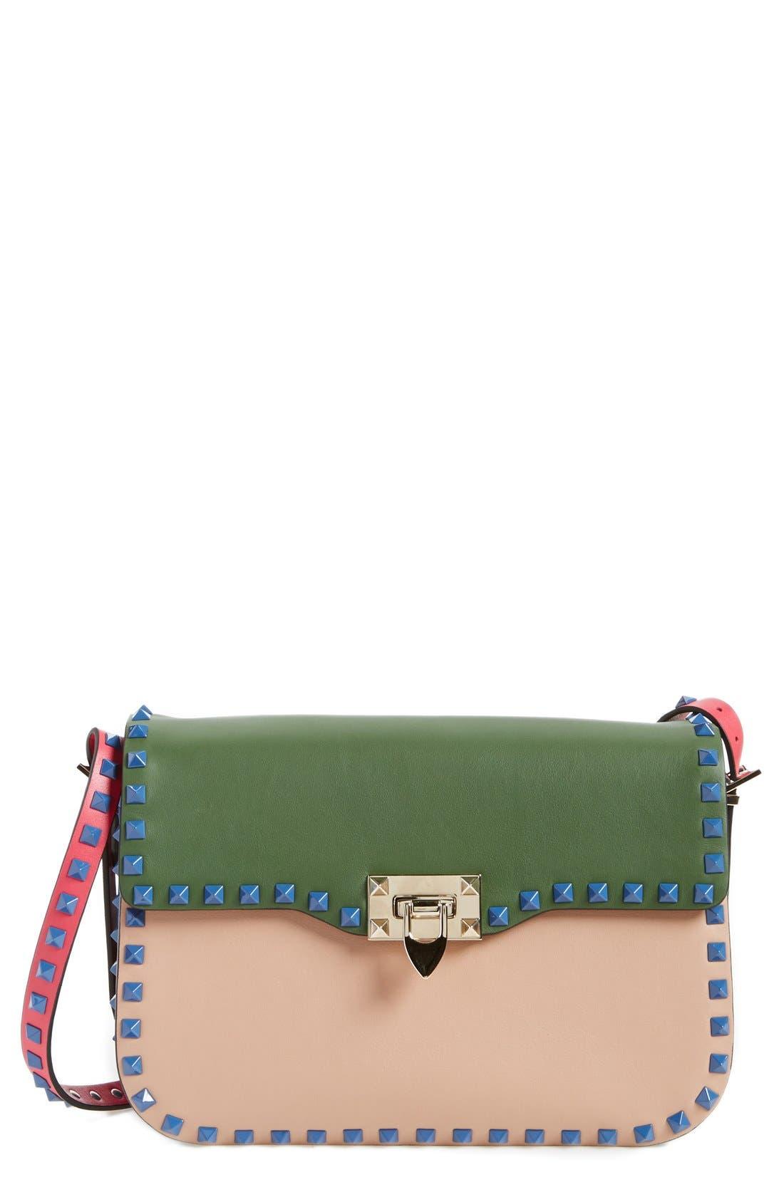 Main Image - Valentino 'Rockstud' Colorblock Shoulder Bag