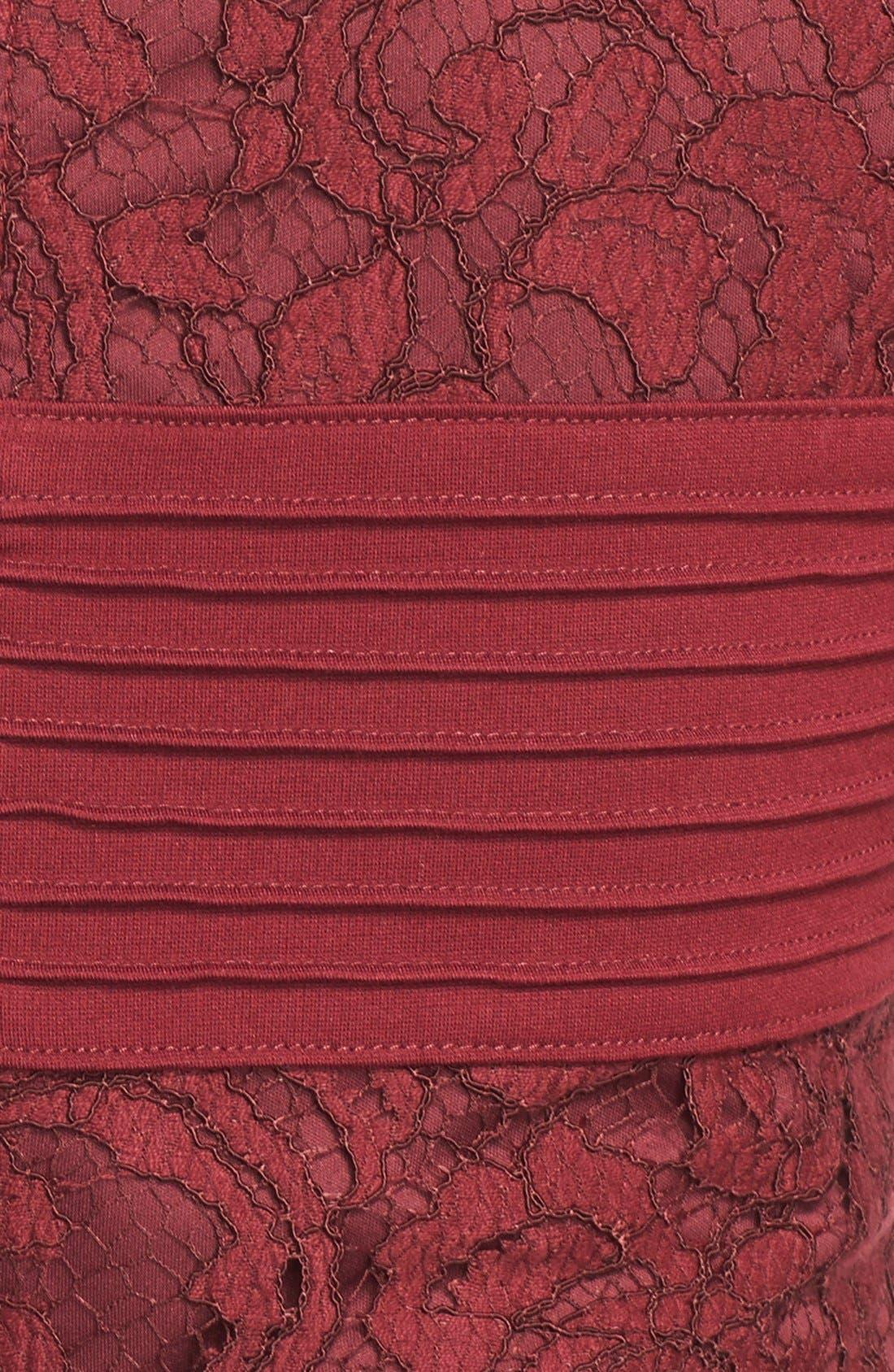 Alternate Image 4  - Tadashi Shoji Crisscross Waist Lace Sheath Dress (Regular & Petite)