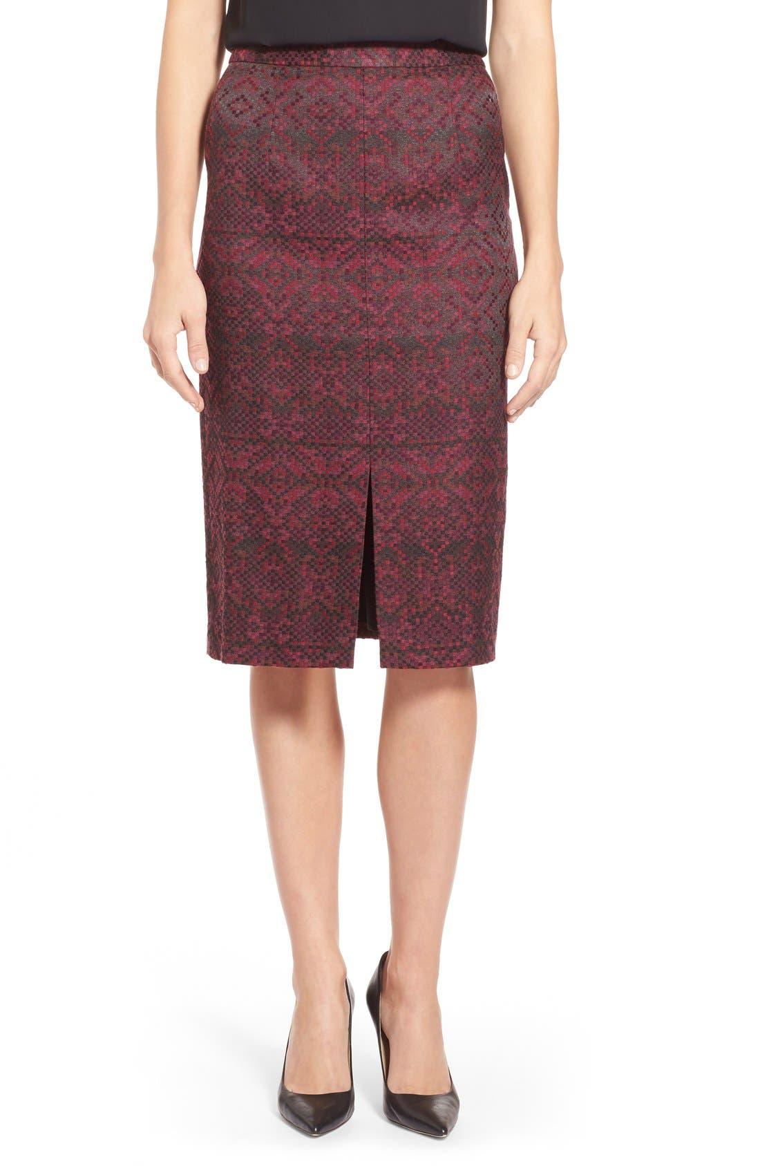 Main Image - Halogen® Slit Front Pencil Skirt (Regular & Petite)