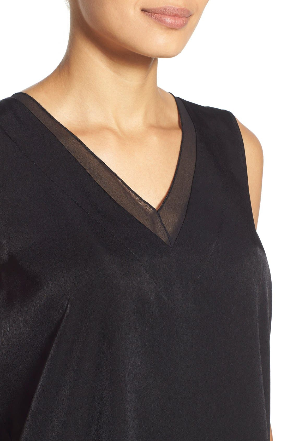 Alternate Image 4  - Pleione Sheer Inset V-Neck Blouse (Regular & Petite)
