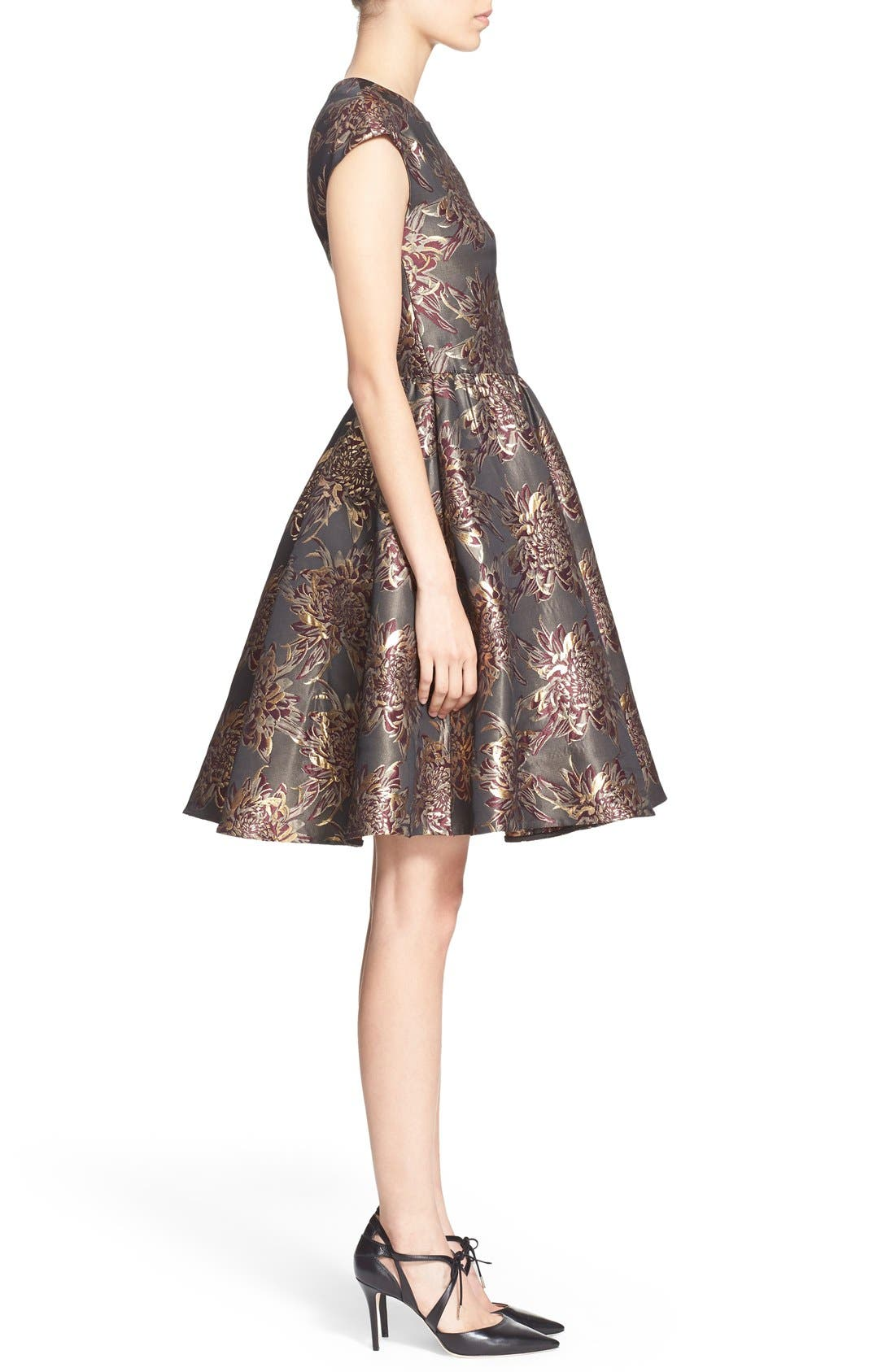 Alternate Image 3  - Ted Baker London 'Laurey' Metallic Floral Jacquard Fit & Flare Dress