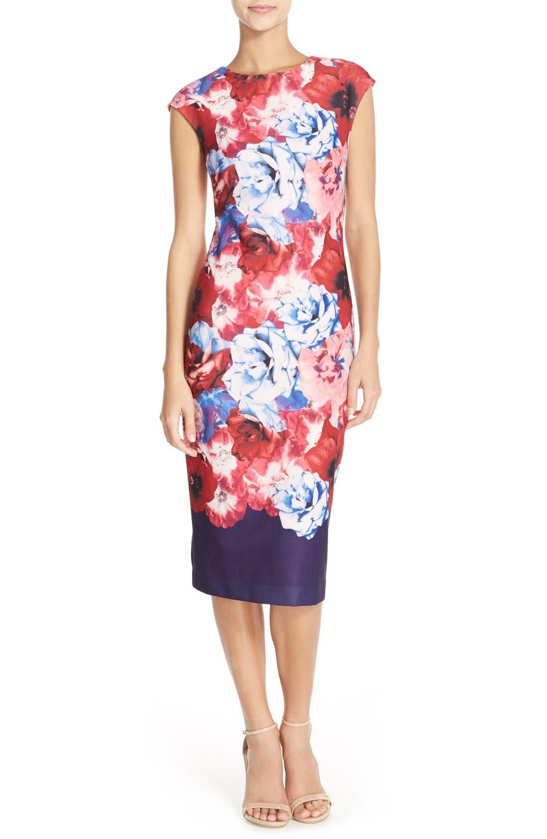 Alternate Image 1 Selected - Vince Camuto Floral Print Stretch Midi Dress (Regular & Petite)