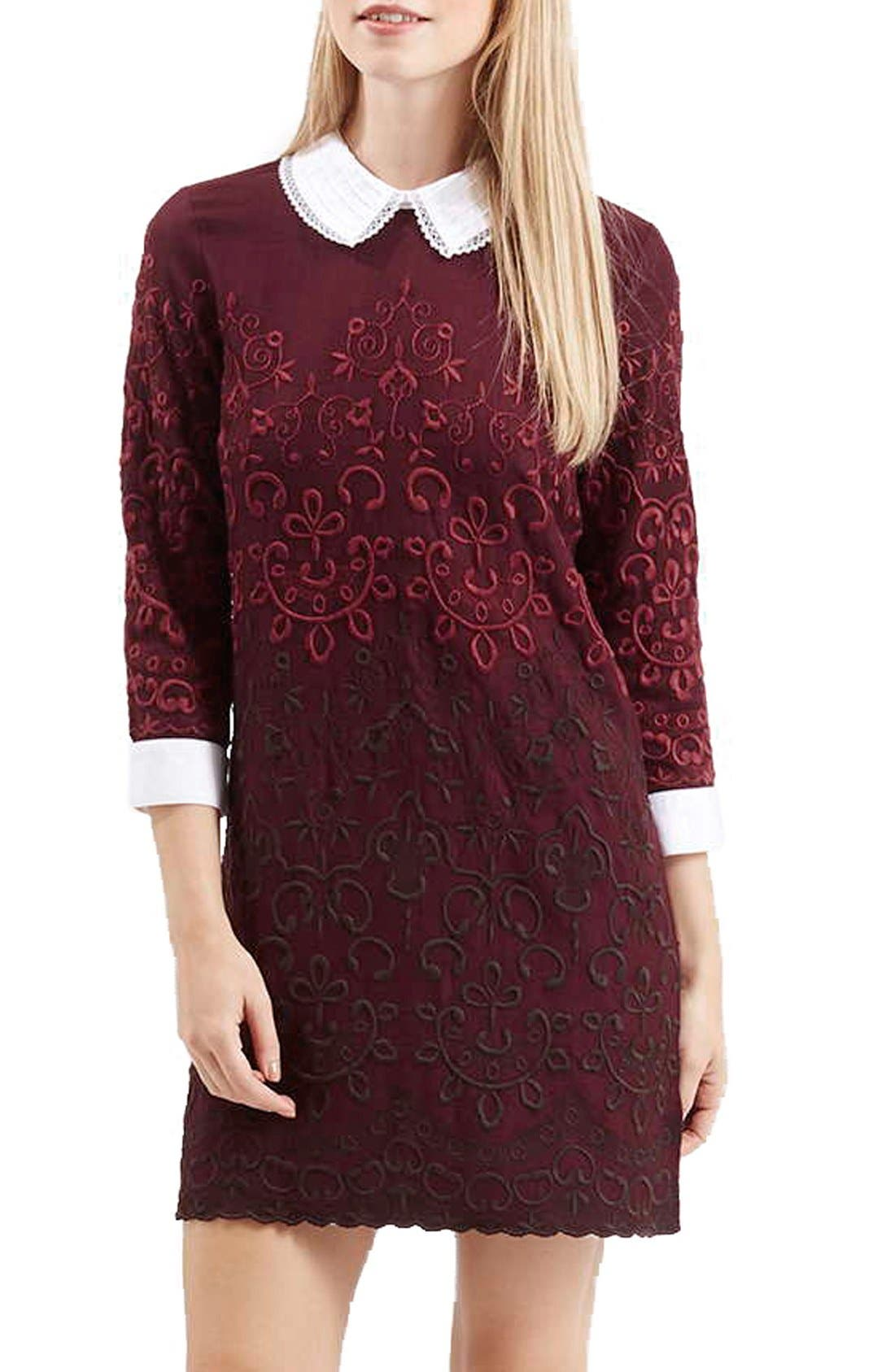 Main Image - Topshop Embroidered Shift Dress