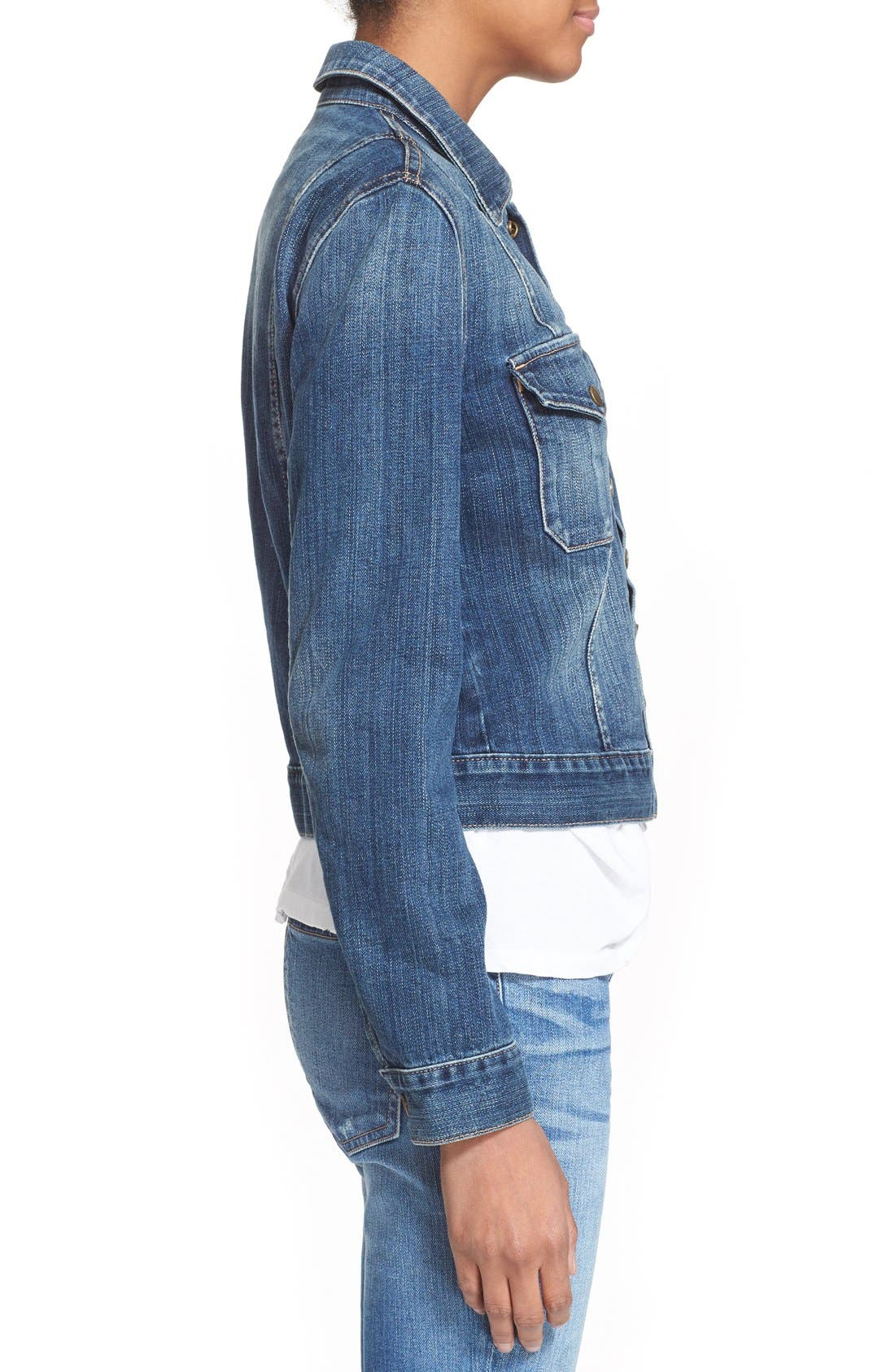 Alternate Image 4  - Current/Elliott 'The Snap' Stretch Denim Jacket