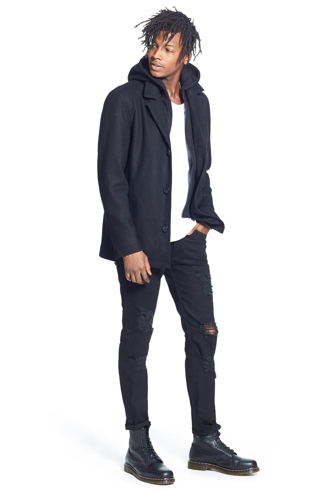 Alternate Image 5  - Black Rivet Single Breasted Hooded Coat