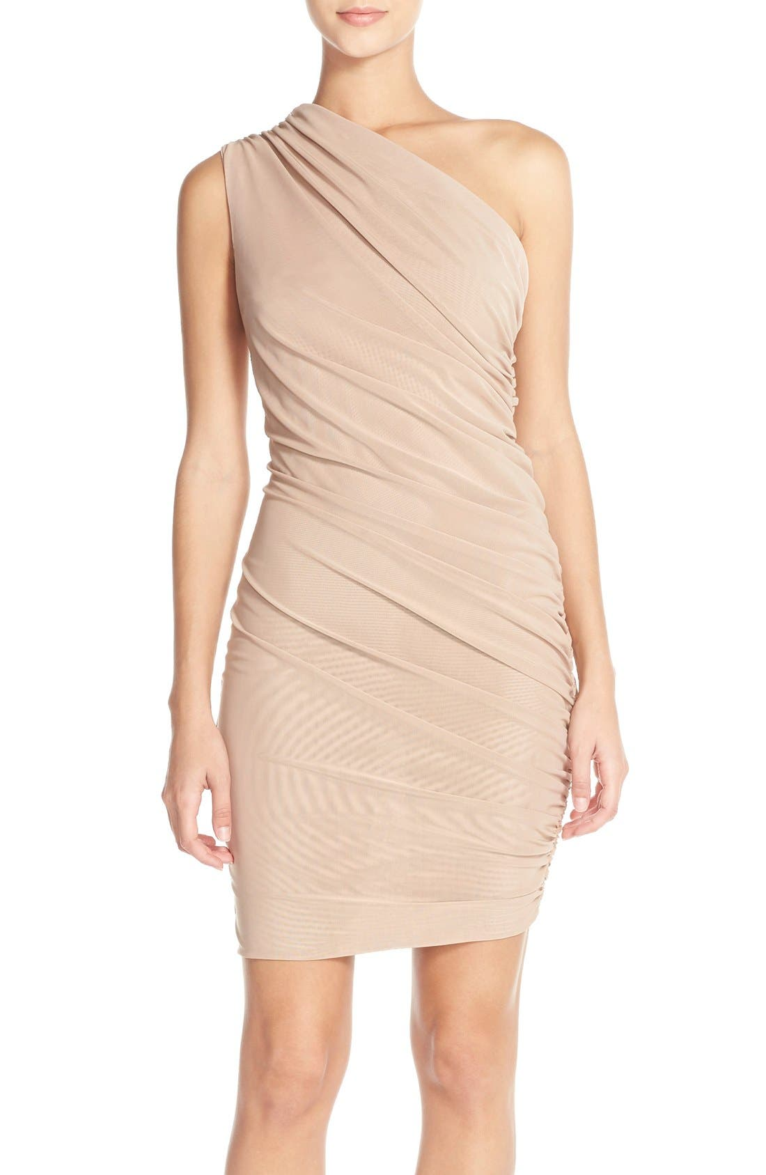 Main Image - Misha Collection 'Shani' One-Shoulder Mesh Body-Con Dress