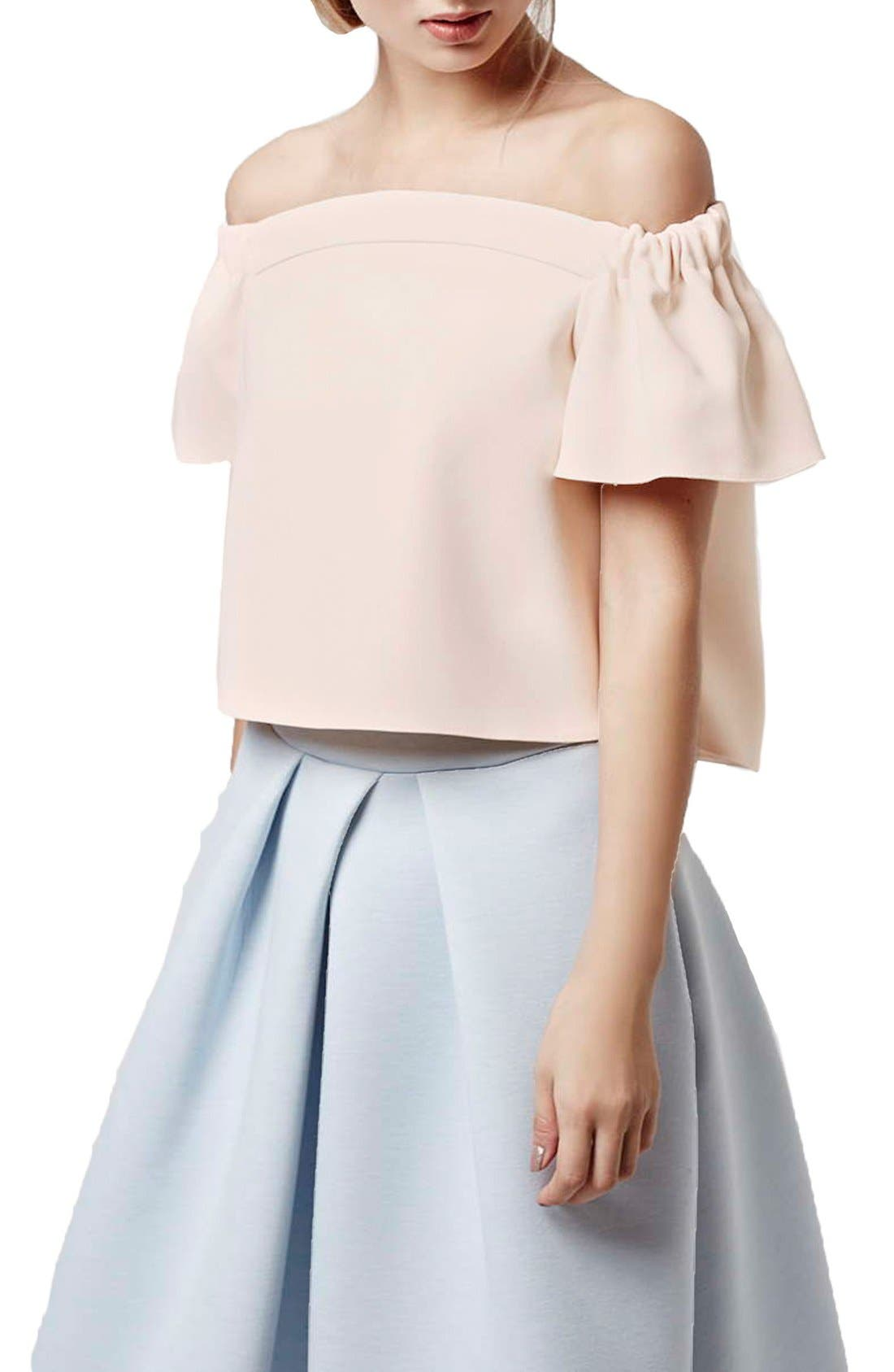 Main Image - Topshop Structured Bardot Top (Petite)