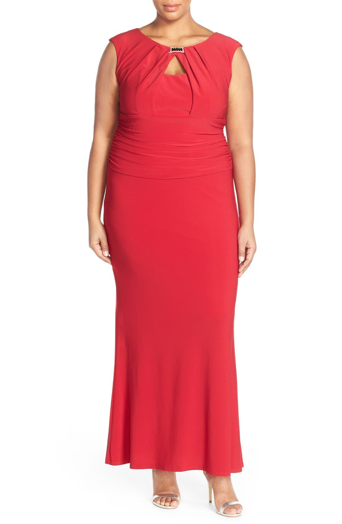 MARINA Embellished Neck Jersey Gown