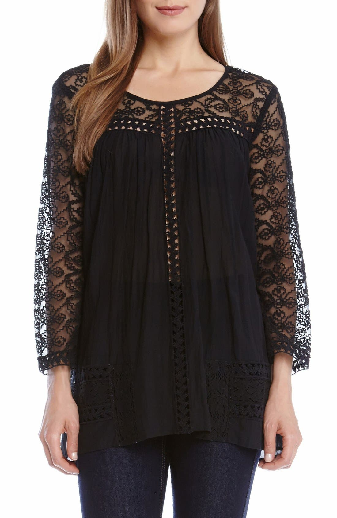 Alternate Image 1 Selected - Karen Kane Mixed Lace Inset Peasant Top