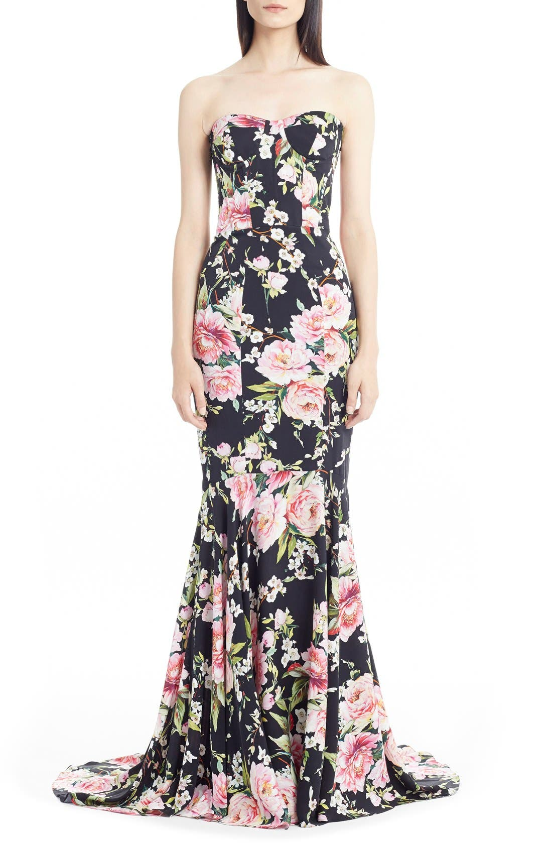 Main Image - Dolce&Gabbana Floral Print Strapless Charmeuse Gown