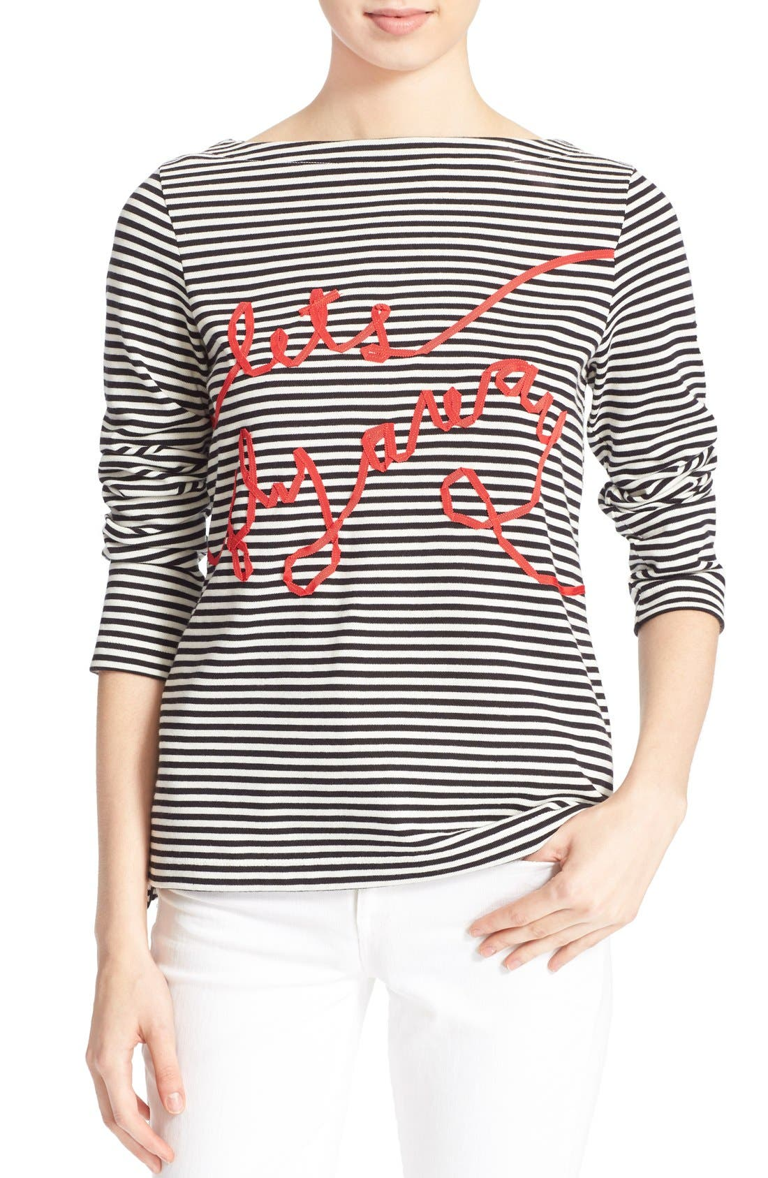 Alternate Image 1 Selected - kate spade new york 'let's fly away' embellished stripe tee