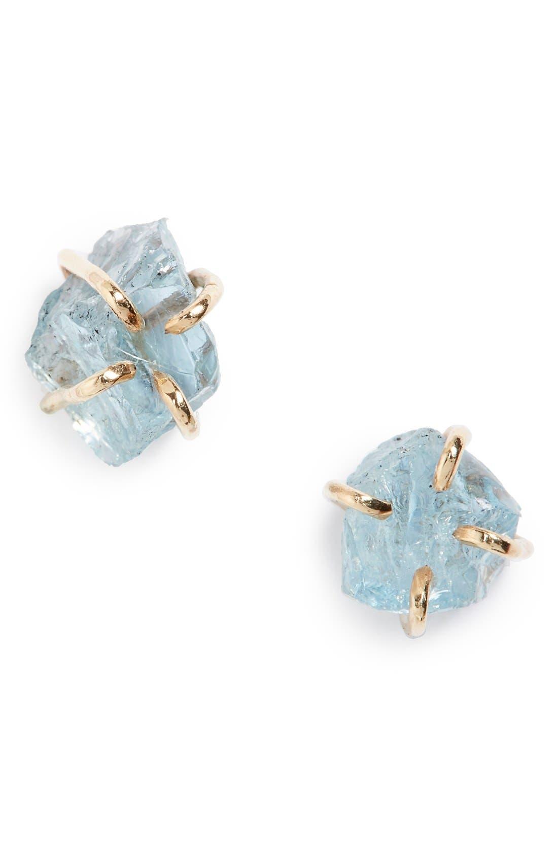 Main Image - Melissa Joy Manning Raw Aquamarine Stone Stud Earrings