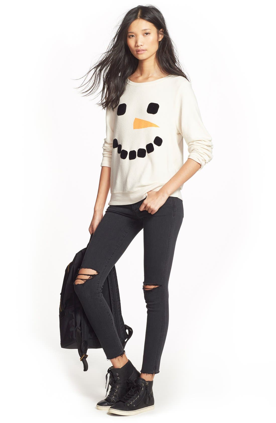 Alternate Image 6  - Wildfox 'Baggy Beach Jumper - Frosty Face' Pullover