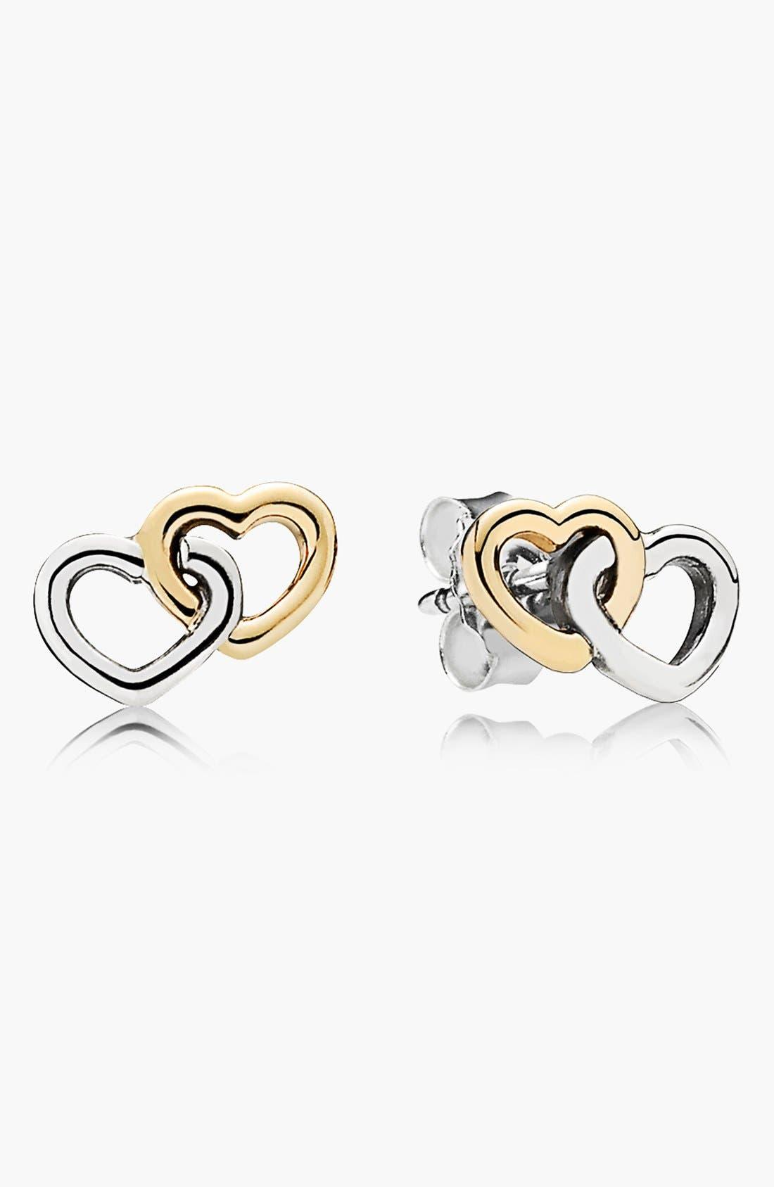 Alternate Image 1 Selected - PANDORA 'Heart to Heart' Stud Earrings