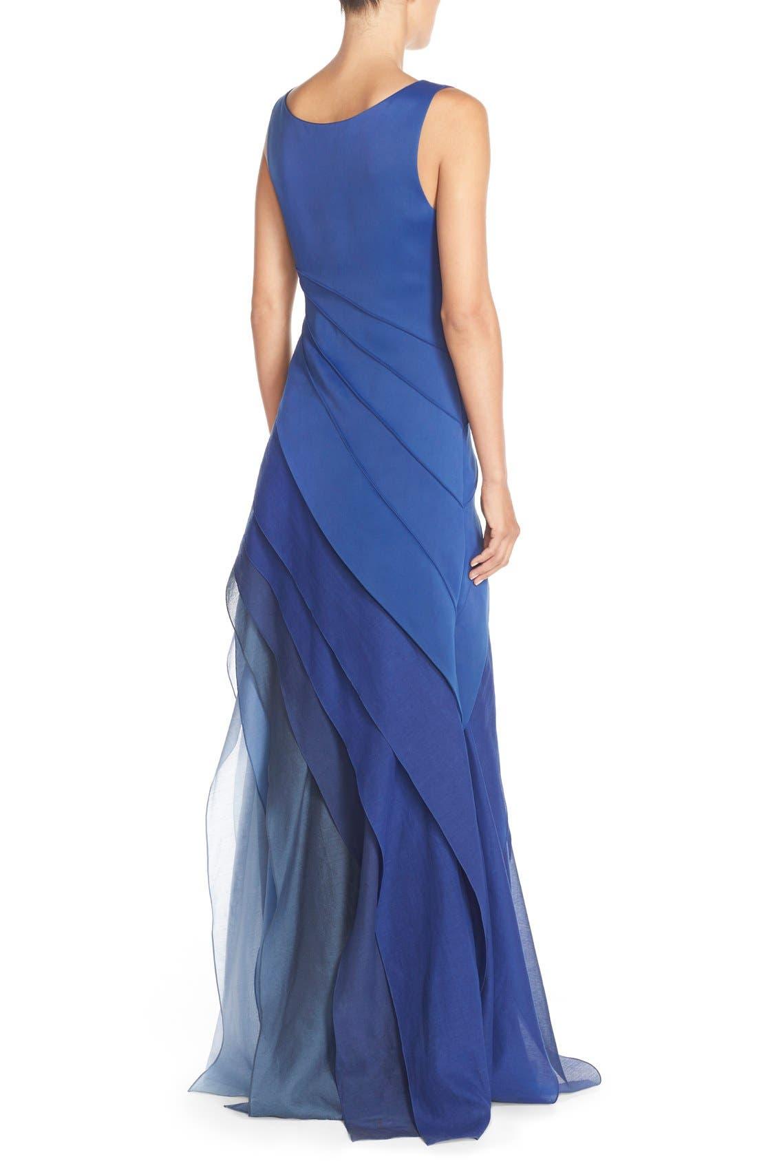Alternate Image 2  - Halston Heritage Asymmetrical Satin & Voile A-Line Gown