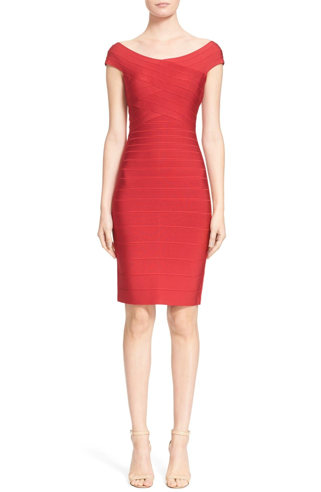 Alternate Image 1  - Herve Leger Cap Sleeve Bandage Pencil Dress