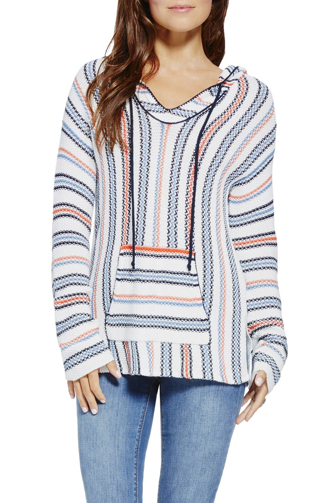 Main Image - Two by Vince Camuto Textured Stripe Hoodie