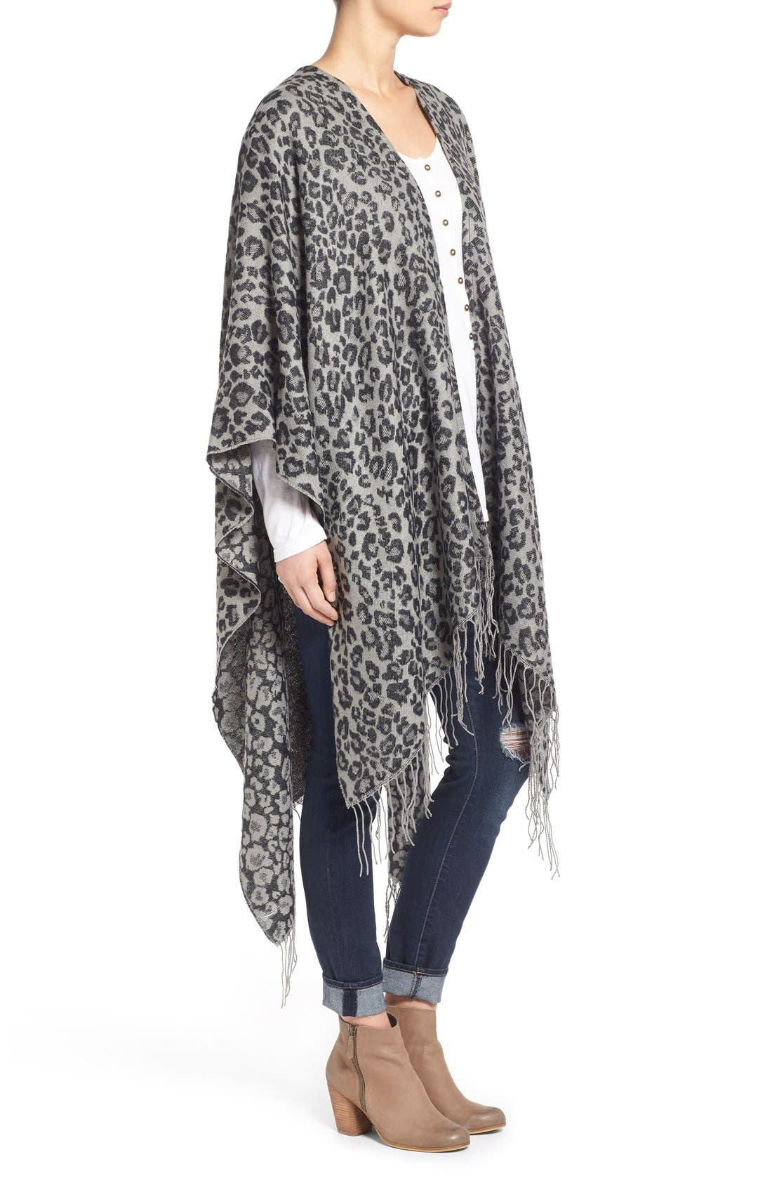 Alternate Image 3  - Capelli of New York Leopard Print Knit Cape