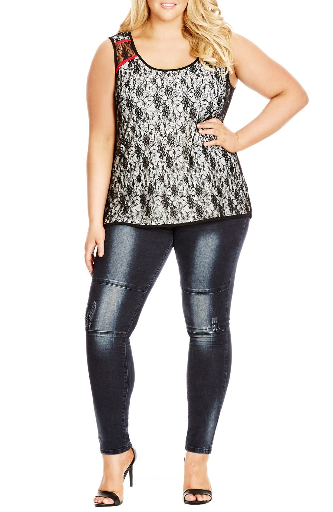Alternate Image 1 Selected - City Chic Lace Overlay Sleeveless Top (Plus Size)