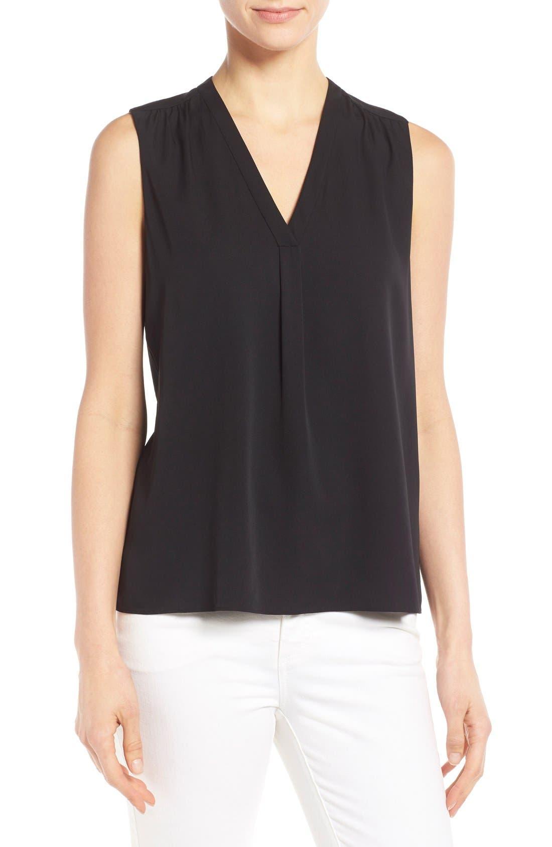 Classiques Entier® Stretch Silk Shirred V-Neck Top (Regular & Petite)
