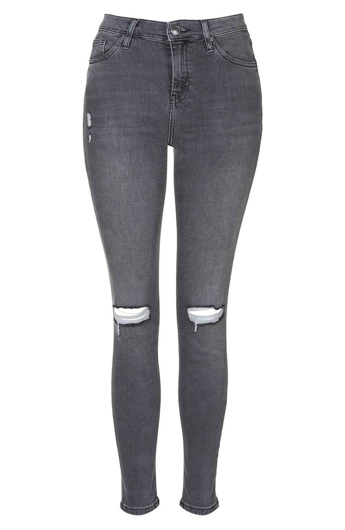 Alternate Image 4  - Topshop 'Jamie' Ripped Skinny Jeans (Grey)