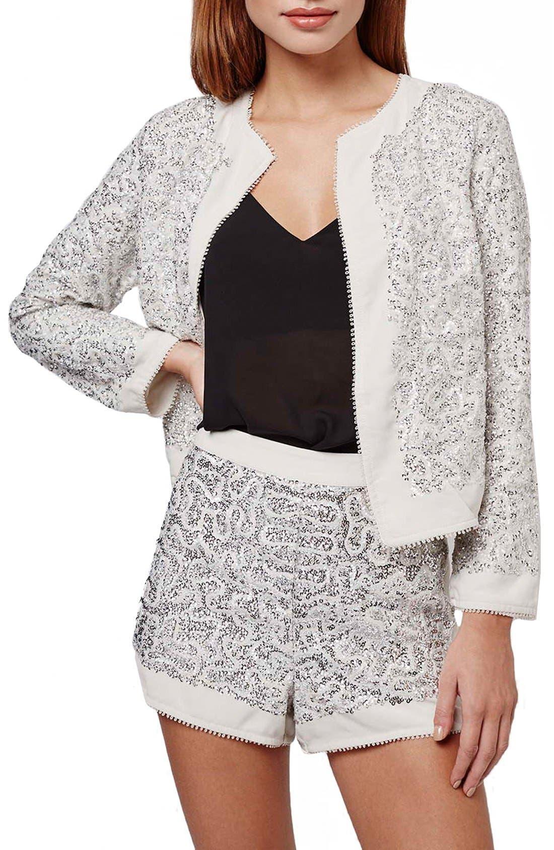 Main Image - Topshop Sequin Embellished Jacket (Petite)