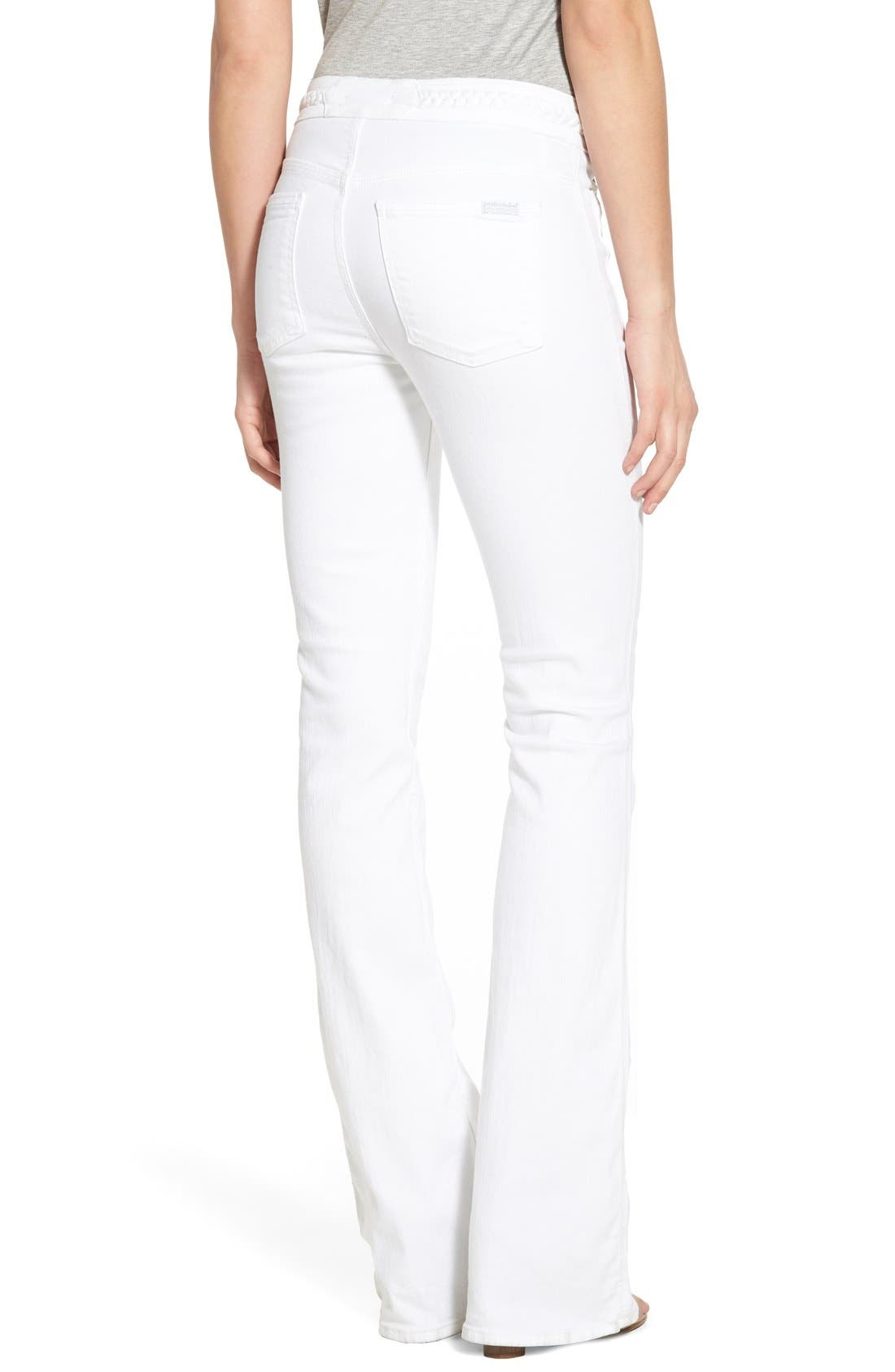 Alternate Image 2  - 7 For All Mankind® High Rise Braided Trim Flare Jeans (White Fashion)