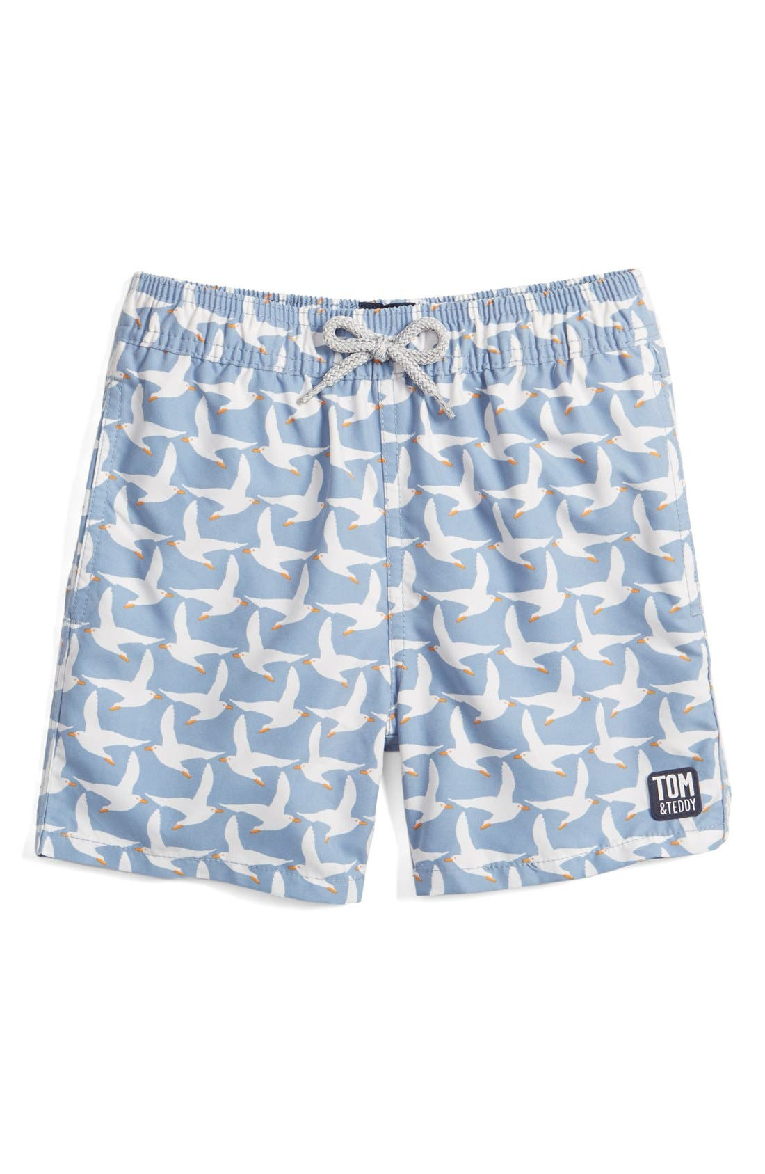 Tom & Teddy 'Pattern Seagulls' Swim Trunks (Toddler Boys, Little Boys & Big Boys)