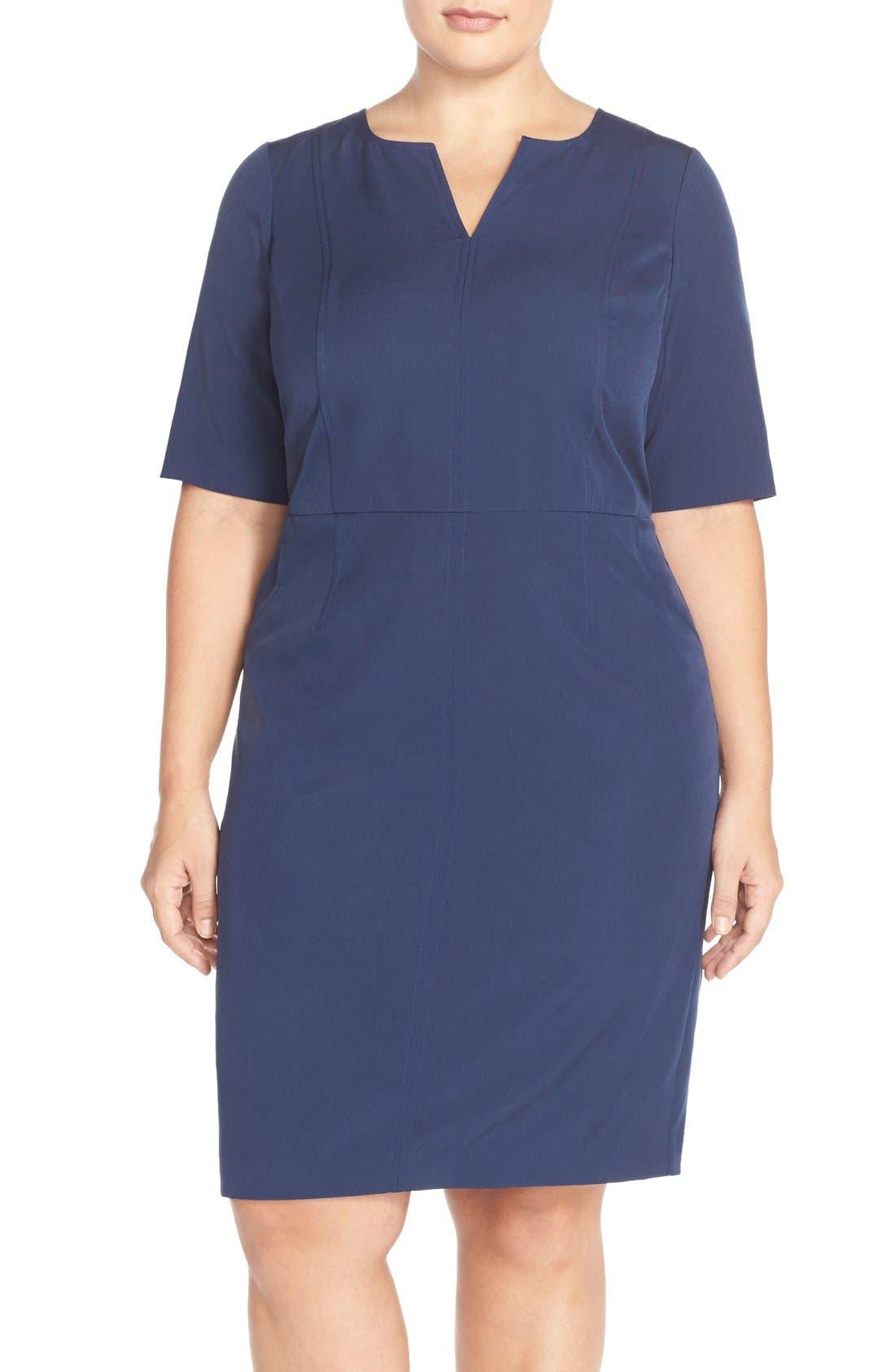 Alternate Image 1 Selected - Mynt 1792 Seam Detail Stretch Crepe Sheath Dress (Plus Size)